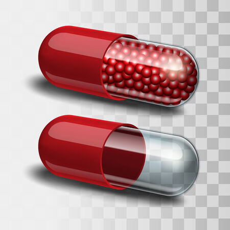 granules: Two Red and transparent pills - empty and with granules Illustration