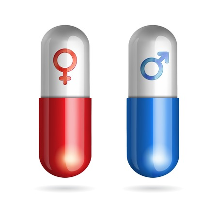 Blue and red pills with male and female symbols on white background Ilustrace