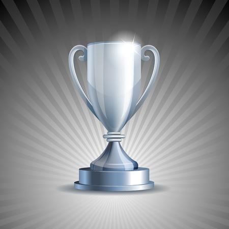 awarding: Silver trophy cup on grey background illustration