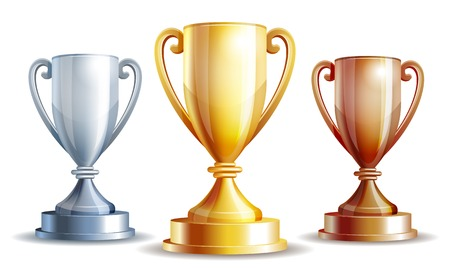 competitions: gold, silver and bronze winners cup illustration