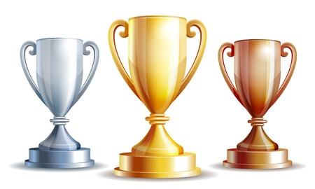 Oro, argento e bronzo vincitori tazza illustrazione Archivio Fotografico - 30486114