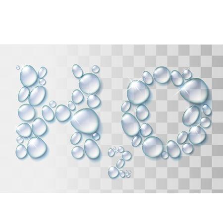Transparent water drops H2O shape illustration