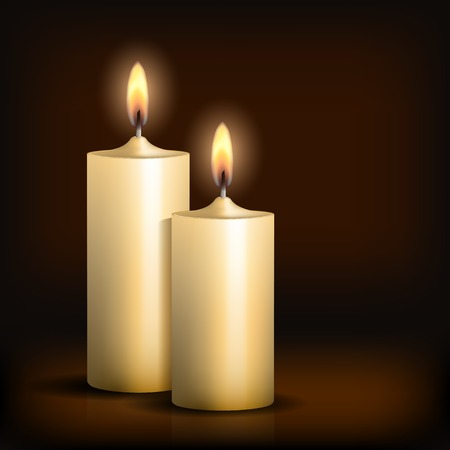 Two burning candles on black background. Vector illustration Vector