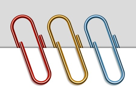 paper fastener: Set of colored paper clips. Illustration