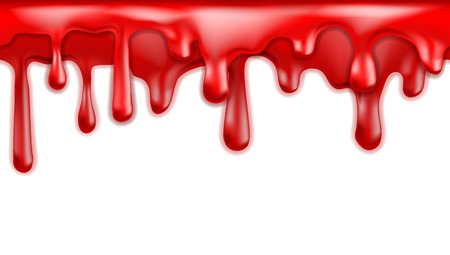 blood dripping: Red blood drips seamless patterns on white background.  Illustration