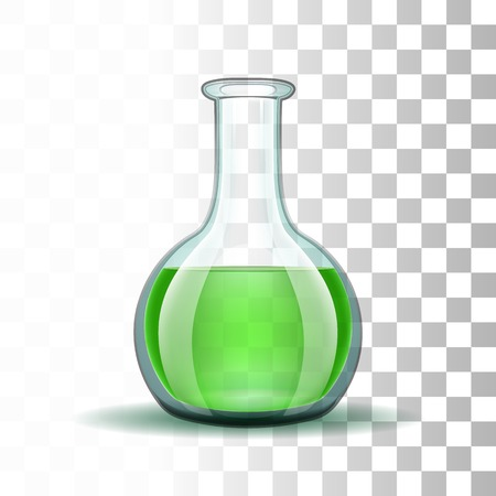laboratory glass: Chemical laboratory transparent flask with green liquid.