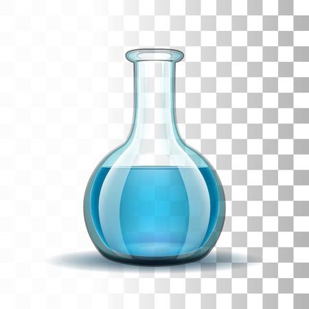 poison symbol: Chemical laboratory transparent flask with blue liquid.   Illustration