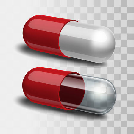pills: Red and white pill and red and transparent pill.