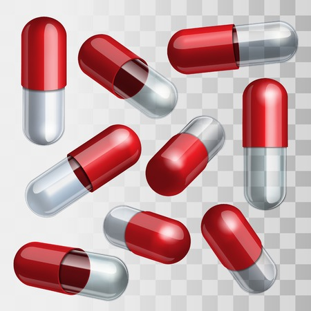 Set of red and transparent medical capsules in different positions