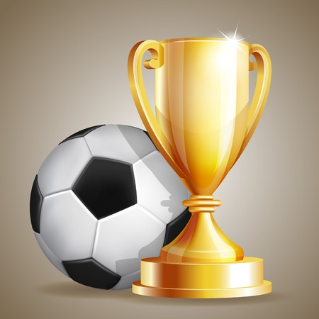 Gold cup with a football ball.  Vector