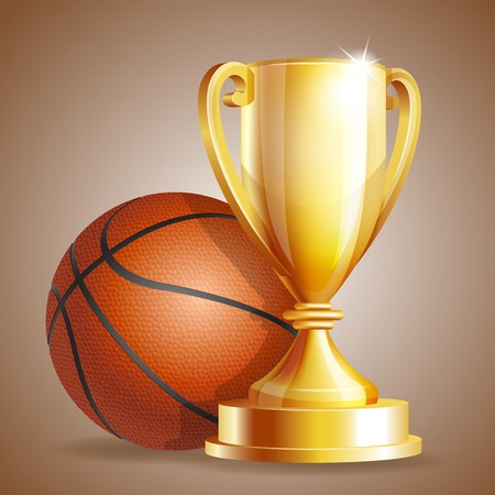 Golden trophy cup with a Basketball ball.  Vector