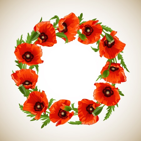 Wreath of Red Poppies, floral round frame. Vector