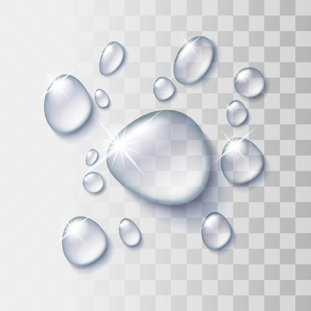 Transparent water drop on light gray background, vector illustration