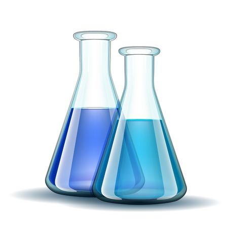 chemical laboratory: Chemical laboratory transparent flasks with blue liquid.