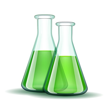 clinical research: Chemical laboratory transparent flasks with green liquid.