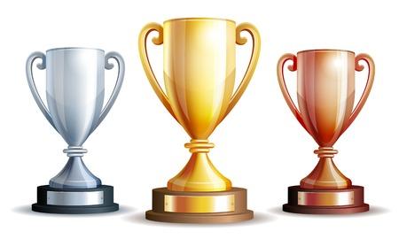 Gold, Silber und Bronze Sieger Cup. Illustration
