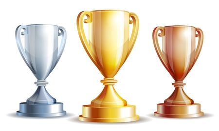 gold, silver and bronze winners cup.  Vector