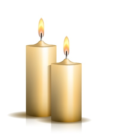 Two burning candles on white background.