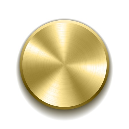 Realistic gold button with circular processing Vettoriali
