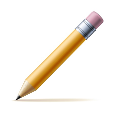 Detailed yellow pencil isolated on white background Vector