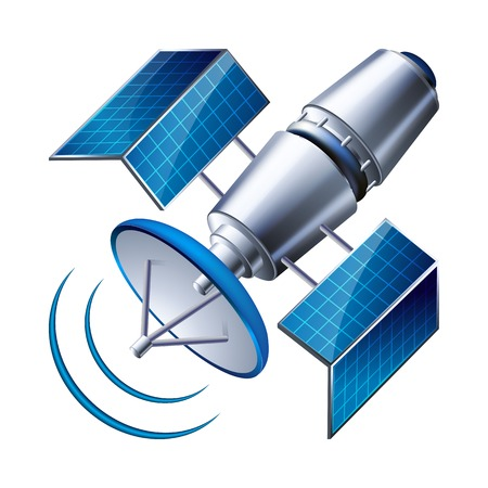 space antenna: satellite isolated on white background illustration