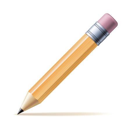 Detailed yellow pencil isolated on white background. Vector illustration Ilustração