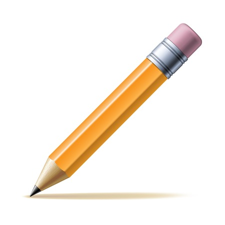 Detailed yellow pencil isolated on white background. Vector illustration Vettoriali