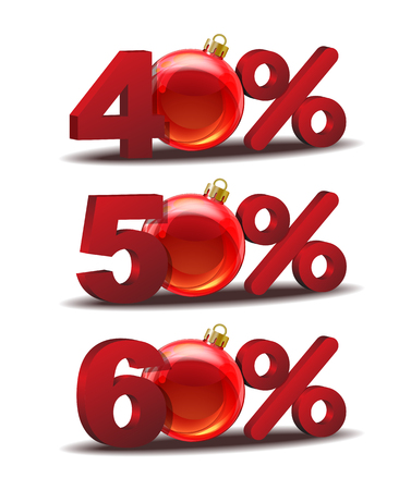 sellout: Forty, Fifty and Sixty percent discount icon with Glass Christmas Balls