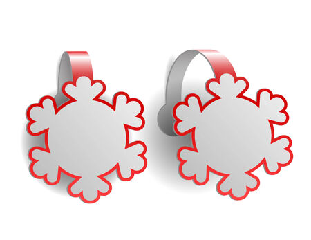Red advertising wobblers shaped like snowflakes isolated on white background