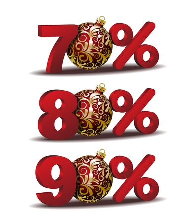 ninety: Seventy, Eighty and Ninety  percent discount icon with Red Christmas Balls Illustration
