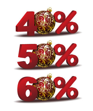 fifty: Forty, Fifty and Sixty percent discount icon with Red Christmas Balls