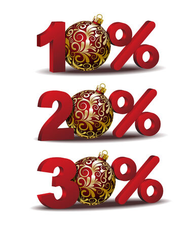 sellout: Ten, Twenty and Thirty percent discount icon with Red Christmas Balls Illustration
