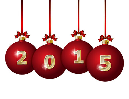 advent calendar: Red Christmas Balls 2015 Hanging on Red Ribbons