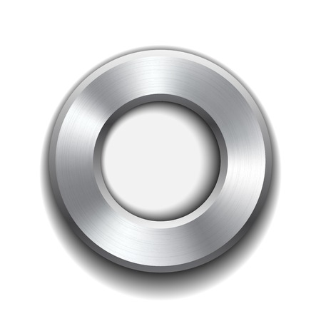Donut button template with metal texture. Vector illustration. Vector