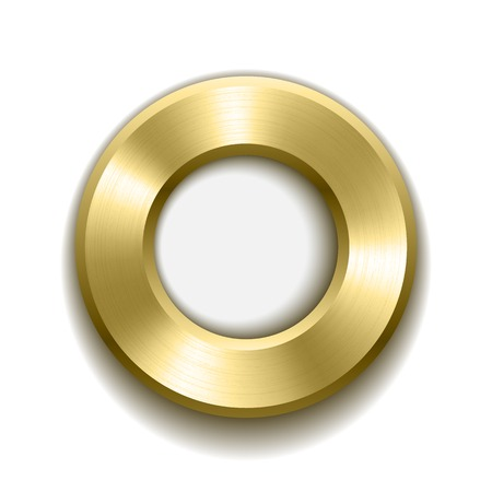 concentric: Gold donut button template with metal texture. Vector illustration.