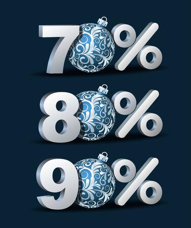 ochenta: Setenta, ochenta y noventa por ciento de descuento icono con bolas azules de Navidad