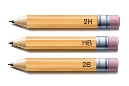pencil symbol: Set of yellow pencils isolated on white background. Vector illustration Illustration