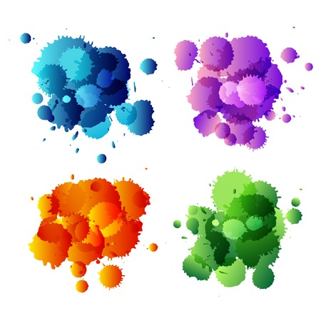 patching: Collection of colorful abstract paint splash. Vector illustration