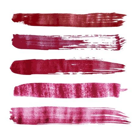 magenta decor: Set of Red vector watercolor brush strokes. Vector illustration Illustration