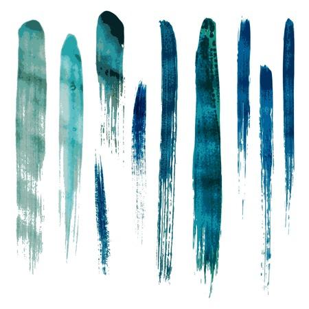 Blue watercolor brush vector strokes. Vector illustration