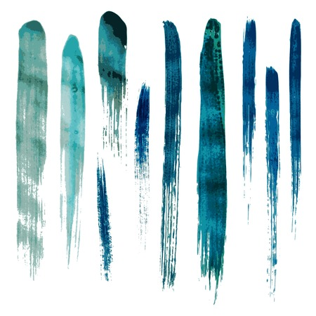 Blue watercolor brush vector strokes. Vector illustration