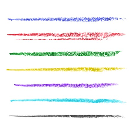 Set of colored brush strokes of pastel. Vector illustration
