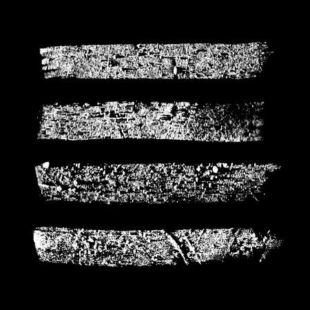 Chalk texture stripes on black background. Vector design elements. Vettoriali