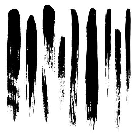 Set of grunge brush strokes. Vector illustration Illustration