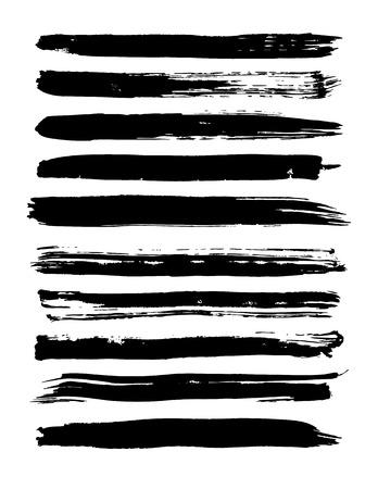 Set of grunge brush strokes. Vector illustration Vettoriali
