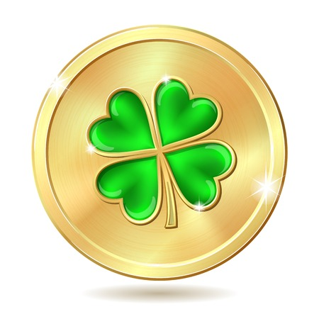 celtic shamrock: Golden coin with four leaf clover. St. Patricks day symbol. Vector illustration