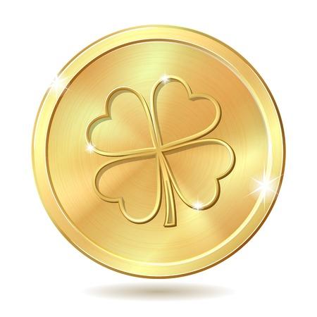 four leaf clover: Golden coin with four leaf clover. St. Patricks day symbol. Vector illustration