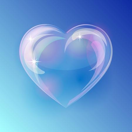 파란색 배경에 반짝이 거품 심장입니다. 벡터 일러스트 레이 션