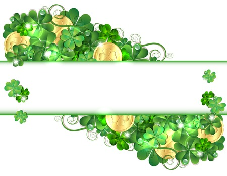 Patricks Day card with clovers and golden coins. Vector illustration