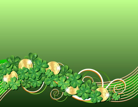 trifolium: Patricks Day card with clovers and golden coins. Vector illustration